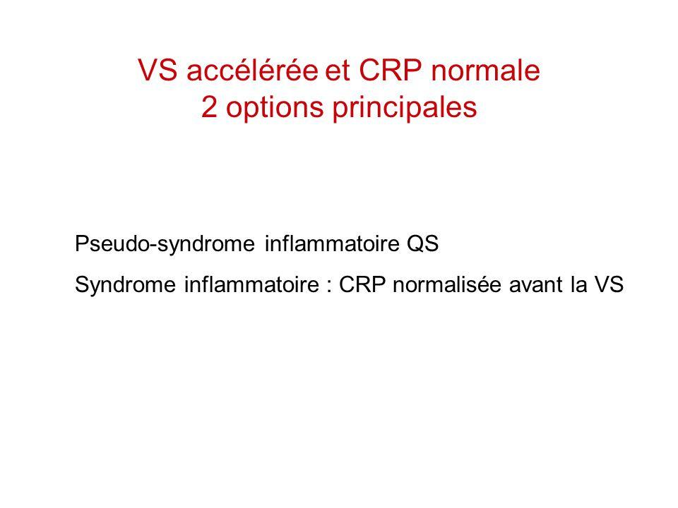 VS accélérée et CRP normale 2 options principales Pseudo-syndrome inflammatoire QS Syndrome inflammatoire : CRP normalisée avant la VS