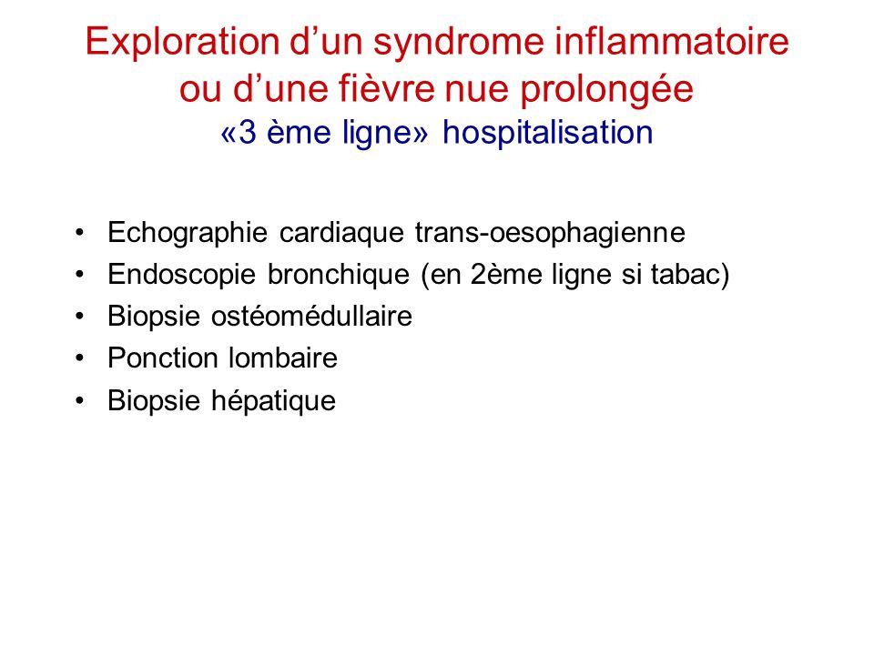 Exploration d'un syndrome inflammatoire ou d'une fièvre nue prolongée «3 ème ligne» hospitalisation Echographie cardiaque trans-oesophagienne Endoscop