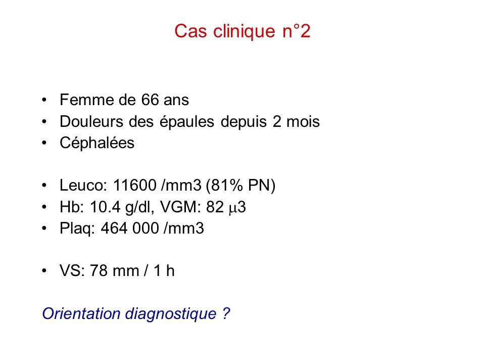 Cas clinique n°2 Femme de 66 ans Douleurs des épaules depuis 2 mois Céphalées Leuco: 11600 /mm3 (81% PN) Hb: 10.4 g/dl, VGM: 82  3 Plaq: 464 000 /mm3