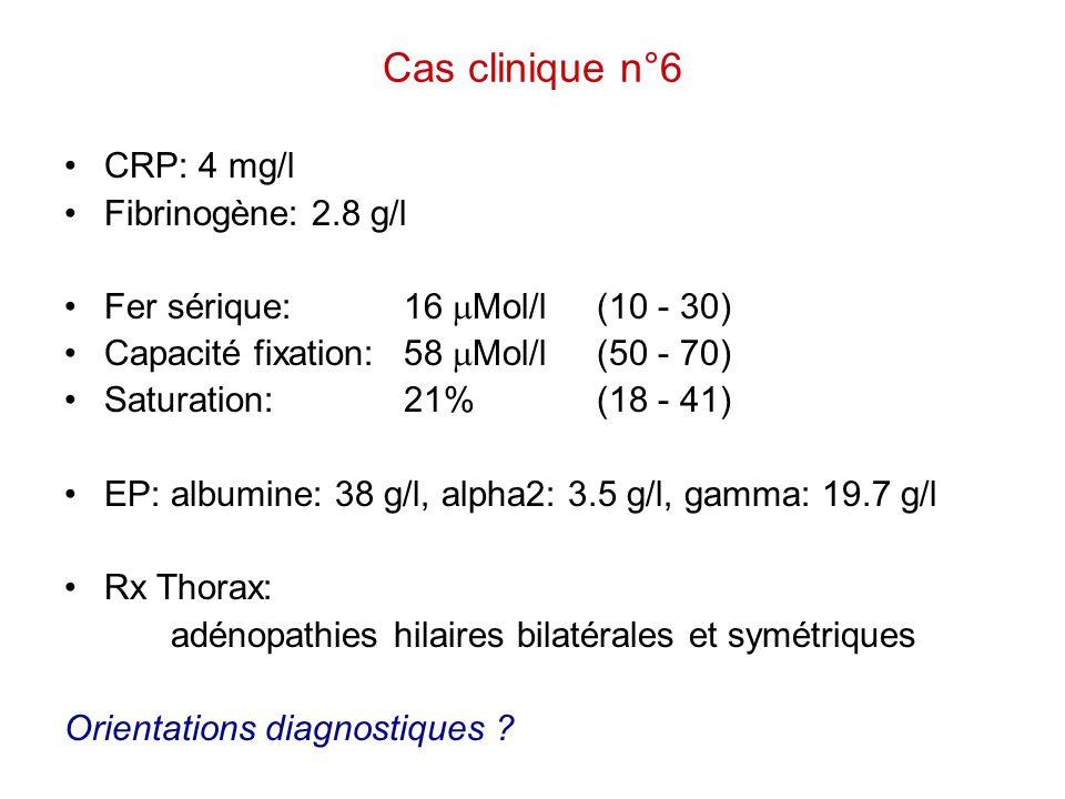 Cas clinique n°6 CRP: 4 mg/l Fibrinogène: 2.8 g/l Fer sérique: 16  Mol/l(10 - 30) Capacité fixation: 58  Mol/l(50 - 70) Saturation: 21%(18 - 41) EP: