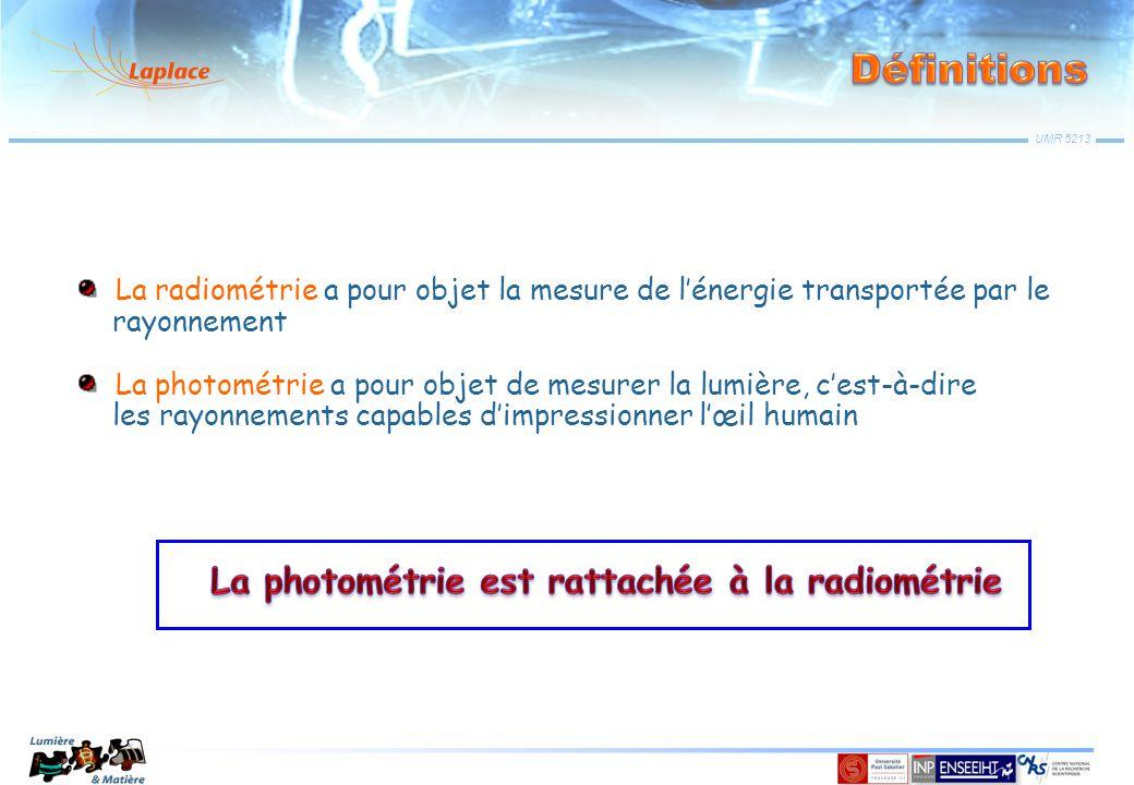 La radiométrie a pour objet la mesure de l'énergie transportée par le rayonnement La photométrie a pour objet de mesurer la lumière, c'est-à-dire les