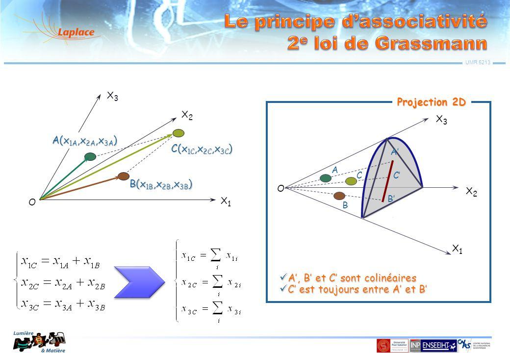 UMR 5213 x1 x3 X3X3 X2X2 X1X1 O x'1 x'3 x2 x'2 Les points A(x 1,x 2,x 3 ) et A'(x' 1,x' 2,x' 3 ) correspondent à la même sensation colorée mais L' ≠ L O (point noir) Lieu de couleurs spectrales êrêr êVêV Les couleurs spectrales êbêb