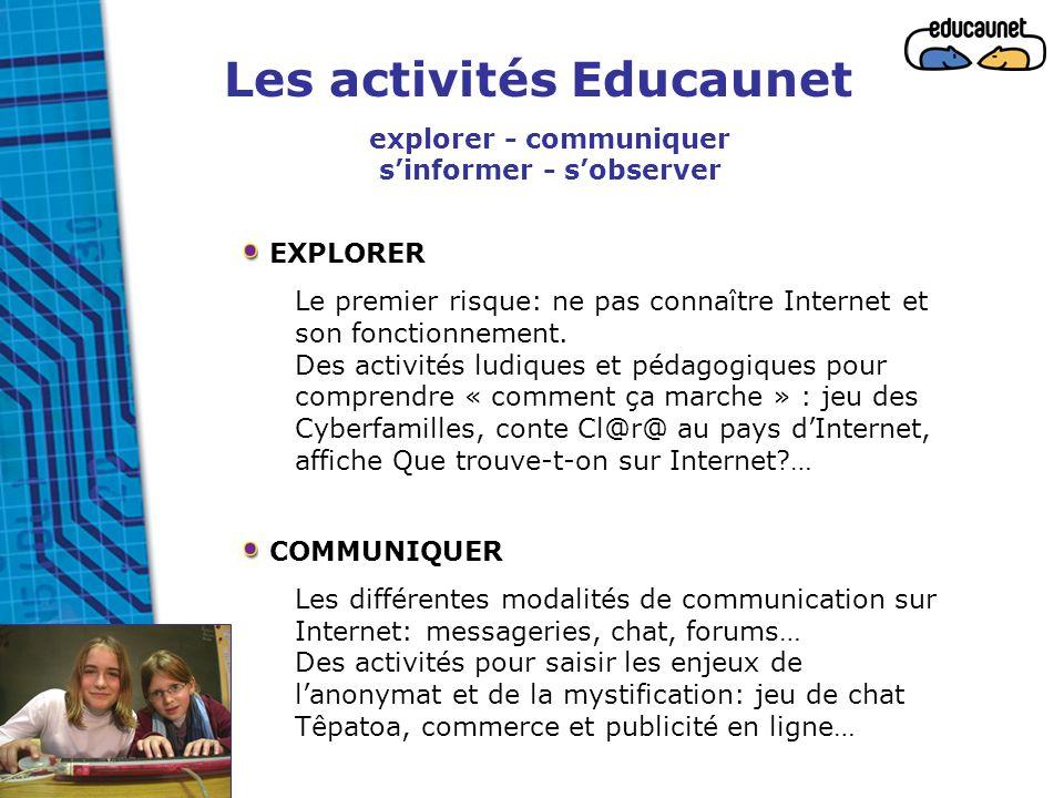 Les activités Educaunet explorer - communiquer s'informer - s'observer EXPLORER Le premier risque: ne pas connaître Internet et son fonctionnement. De