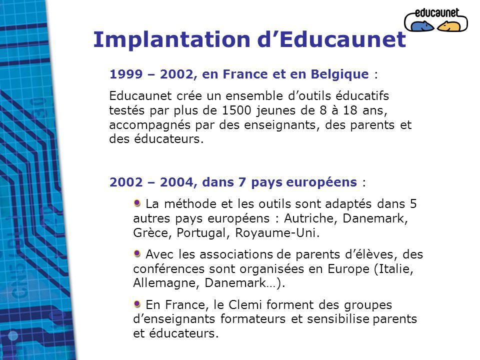 Implantation d'Educaunet 1999 – 2002, en France et en Belgique : Educaunet crée un ensemble d'outils éducatifs testés par plus de 1500 jeunes de 8 à 1