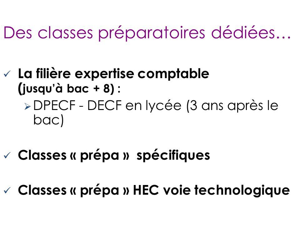 Des classes préparatoires dédiées… La filière expertise comptable ( jusqu'à bac + 8) :  DPECF - DECF en lycée (3 ans après le bac) Classes « prépa » spécifiques Classes « prépa » HEC voie technologique