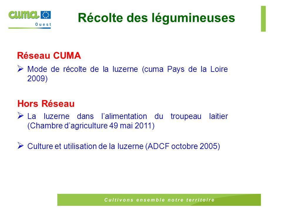 Réseau CUMA  Mode de récolte de la luzerne (cuma Pays de la Loire 2009) Récolte des légumineuses Hors Réseau  La luzerne dans l'alimentation du troupeau laitier (Chambre d'agriculture 49 mai 2011)  Culture et utilisation de la luzerne (ADCF octobre 2005)