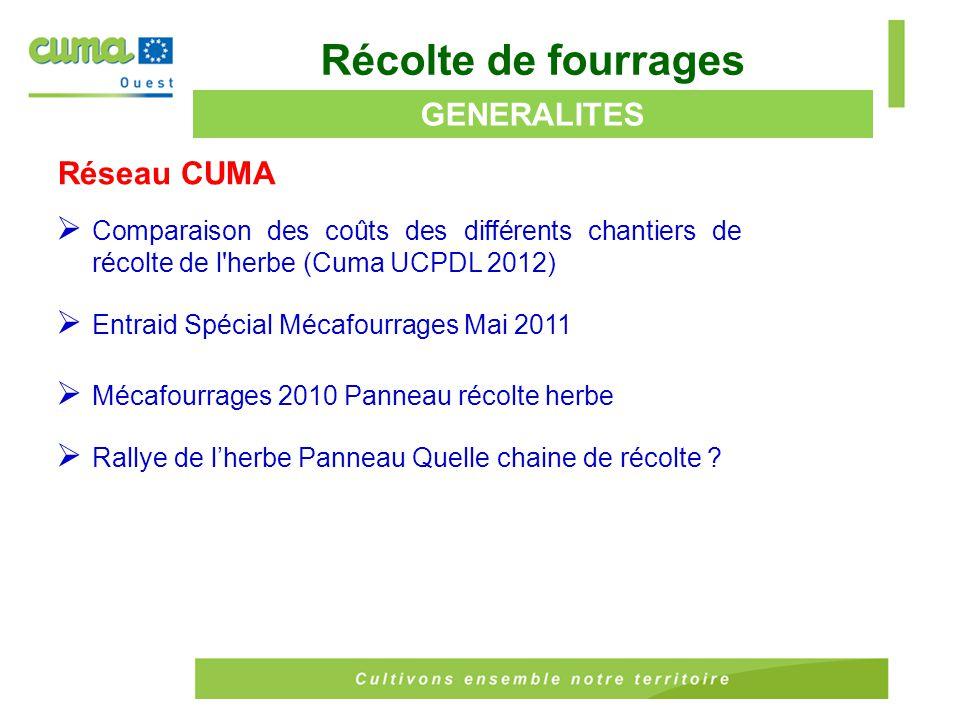 Réseau CUMA (suite)  Fauchage, fanage, andainage, vers les grandes largeurs (cuma Pays de la Loire 2008)  Exemple d'utilisation de l'outil Mecaherbe (FDcuma Basse Normandie 2006)  Étude de 4 chaînes de récolte du foin (FDcuma Pays de la Loire essais juin 2005)  Étude de 4 chaînes de récolte du foin (FDcuma Pays de la Loire essais juin 2004) Récolte de fourrages GENERALITES