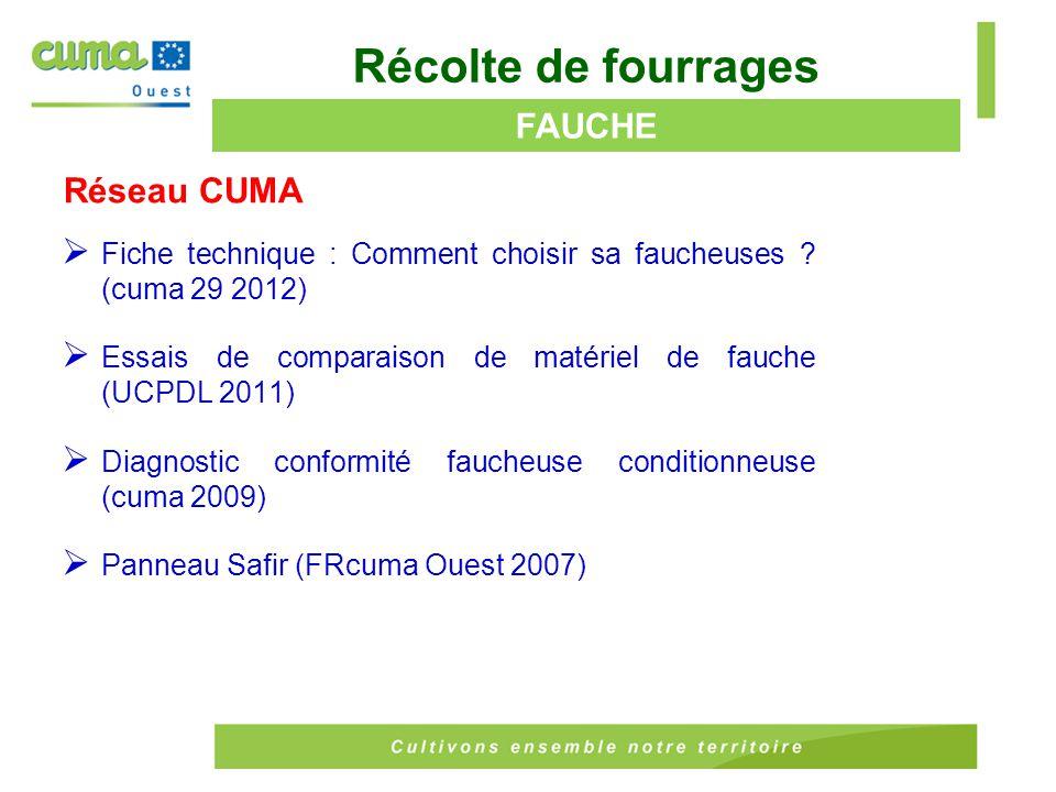 Réseau CUMA  La récolte des méteils (cuma Pays de la Loire 2006) ENSILAGE MELANGES CEREALIERS Récolte de fourrages Hors Réseau  Récolter comme fourrage des céréales protéagineux immatures (Chambre d'agriculture centre est 2010)  Ensiler des associations céréales-protéagineux pour sécuriser son système fourrager en Pays de la Loire (Chambre d'agriculture Pays de la Loire, Institut de l'élevage, Contrôle Laitier, 2010)