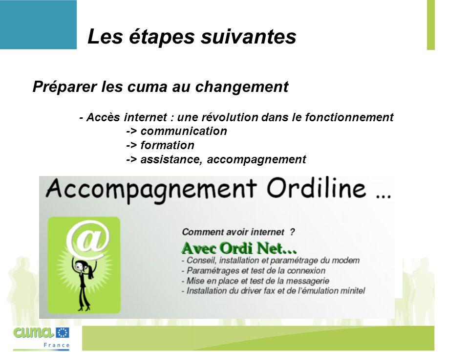 Les étapes suivantes D'autres outils en ligne à dispostion des agriculteurs existent : - Synel et Mes Parcelles - Informatique à la ferme en 44 Préparer les cuma au changement - Accès internet : une révolution dans le fonctionnement -> communication -> formation -> assistance, accompagnement