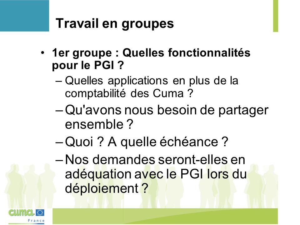 Travail en groupes 1er groupe : Quelles fonctionnalités pour le PGI .