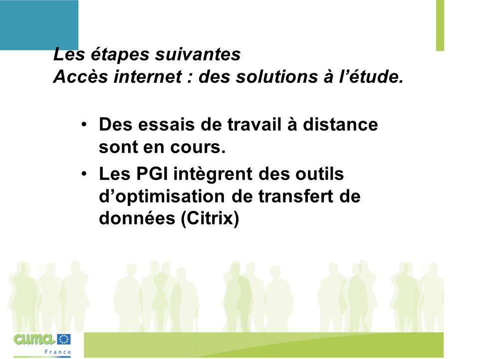 Les étapes suivantes Accès internet : des solutions à l'étude.