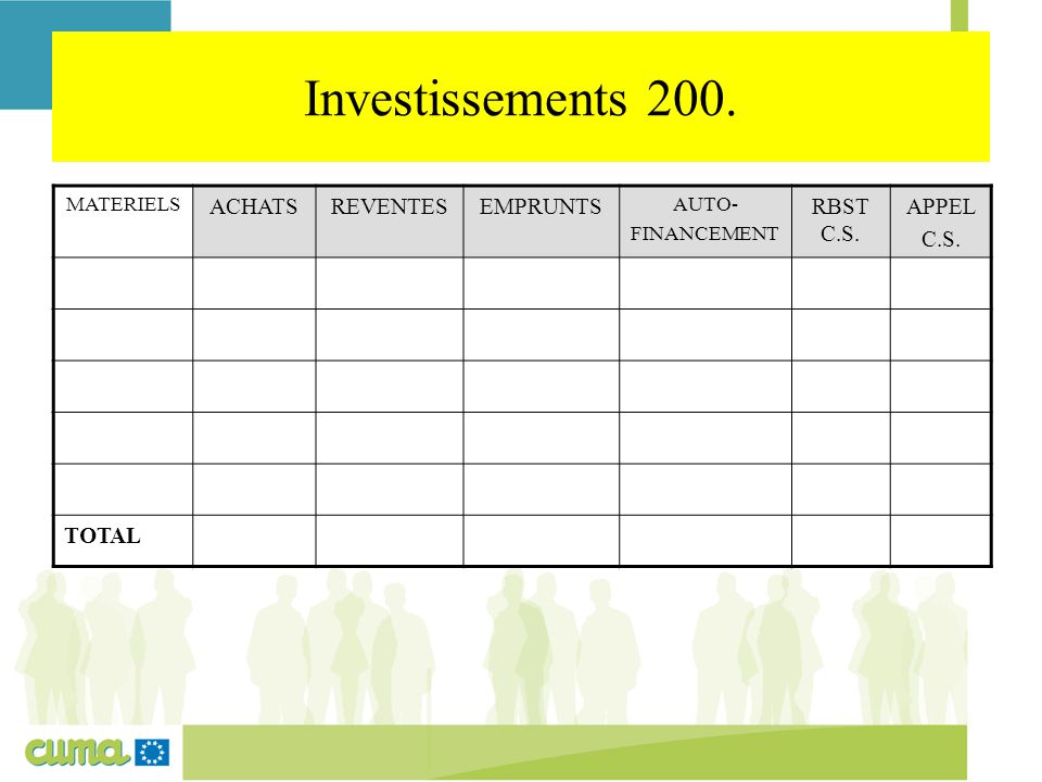 Investissements 200. MATERIELS ACHATSREVENTESEMPRUNTS AUTO- FINANCEMENT RBST C.S. APPEL C.S. TOTAL