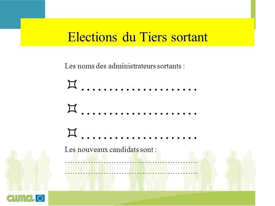Elections du Tiers sortant Les noms des administrateurs sortants :  ………………… Les nouveaux candidats sont : …………………………………………….