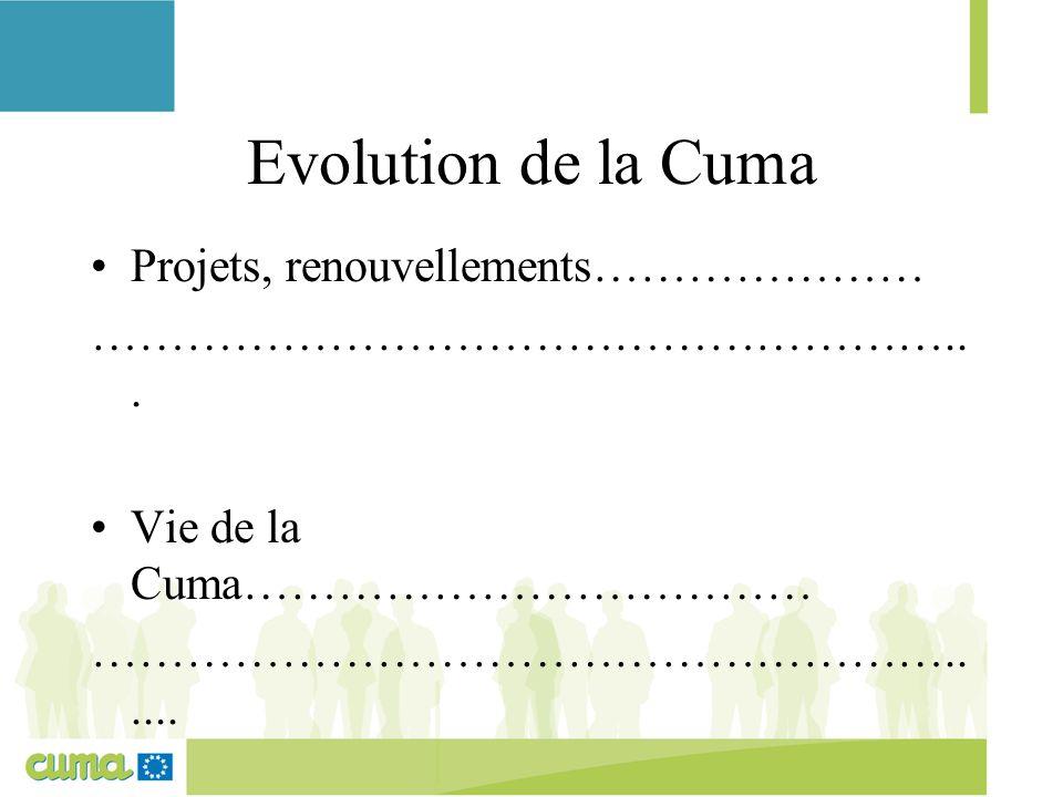 Evolution de la Cuma Projets, renouvellements………………… ………………………………………………... Vie de la Cuma……………………………… ………………………………………………...... Autres projets :…………………