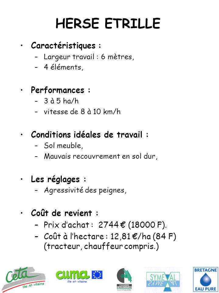 HERSE ETRILLE Caractéristiques : –Largeur travail : 6 mètres, –4 éléments, Performances : –3 à 5 ha/h –vitesse de 8 à 10 km/h Conditions idéales de travail : –Sol meuble, –Mauvais recouvrement en sol dur, Les réglages : –Agressivité des peignes, Coût de revient : –Prix d'achat : 2744 € (18000 F).