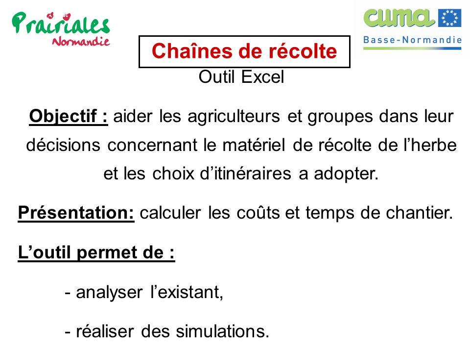 Chaînes de récolte Outil Excel Objectif : aider les agriculteurs et groupes dans leur décisions concernant le matériel de récolte de l'herbe et les ch