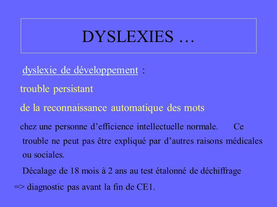 dyslexie de développement : trouble persistant de la reconnaissance automatique des mots chez une personne d'efficience intellectuelle normale. Ce tro