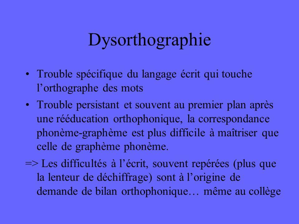 Dysorthographie Trouble spécifique du langage écrit qui touche l'orthographe des mots Trouble persistant et souvent au premier plan après une rééducat
