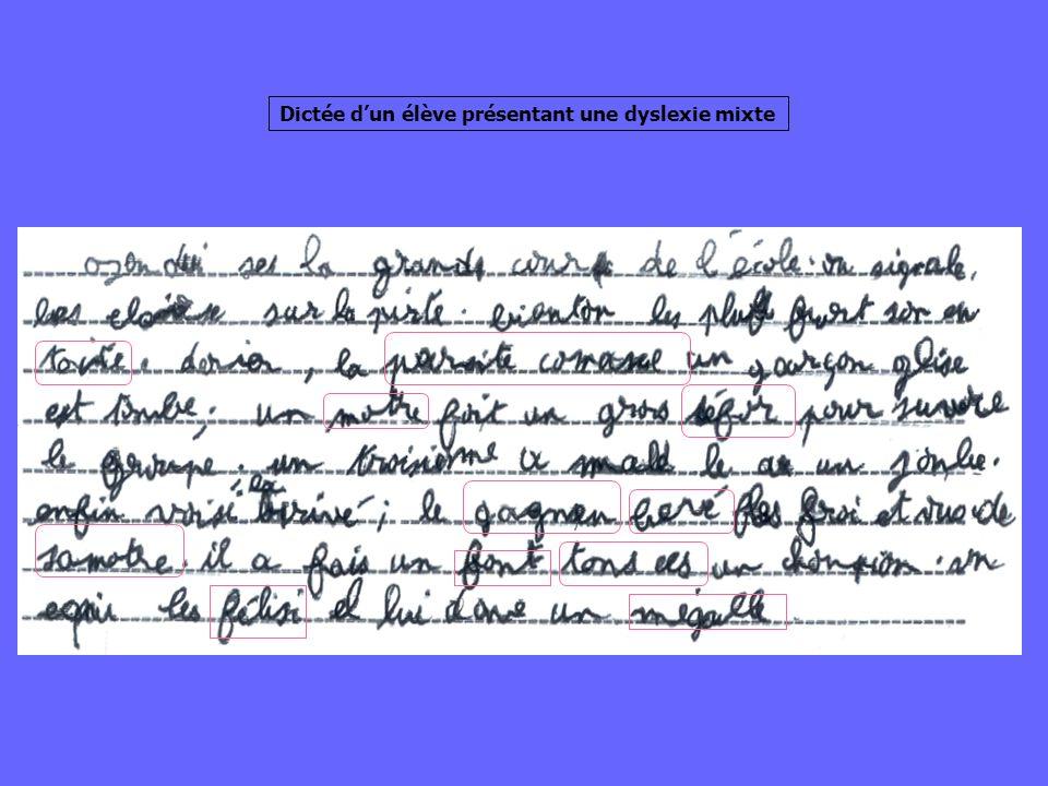 Dictée d'un élève présentant une dyslexie mixte