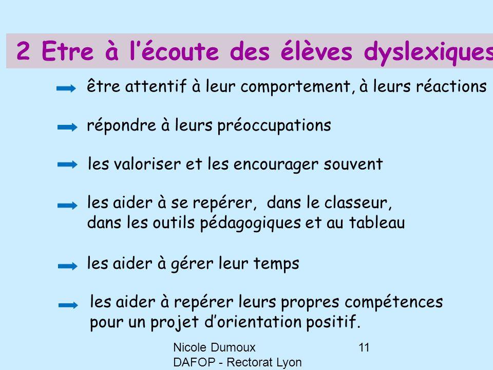 Nicole Dumoux DAFOP - Rectorat Lyon 11 2 Etre à l'écoute des élèves dyslexiques être attentif à leur comportement, à leurs réactions répondre à leurs