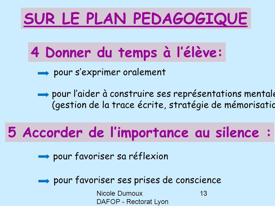 Nicole Dumoux DAFOP - Rectorat Lyon 13 4 Donner du temps à l'élève: pour l'aider à construire ses représentations mentales (gestion de la trace écrite