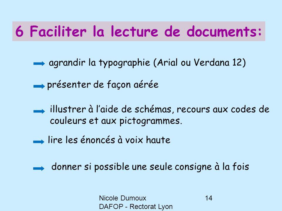 Nicole Dumoux DAFOP - Rectorat Lyon 14 6 Faciliter la lecture de documents: agrandir la typographie (Arial ou Verdana 12) présenter de façon aérée ill