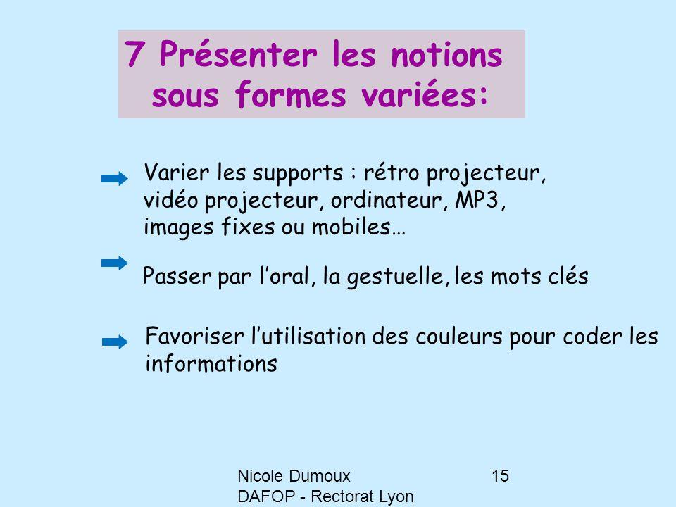 Nicole Dumoux DAFOP - Rectorat Lyon 15 7 Présenter les notions sous formes variées: Varier les supports : rétro projecteur, vidéo projecteur, ordinate