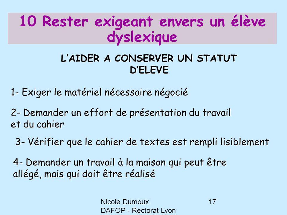 Nicole Dumoux DAFOP - Rectorat Lyon 17 10 Rester exigeant envers un élève dyslexique 1- Exiger le matériel nécessaire négocié 2- Demander un effort de