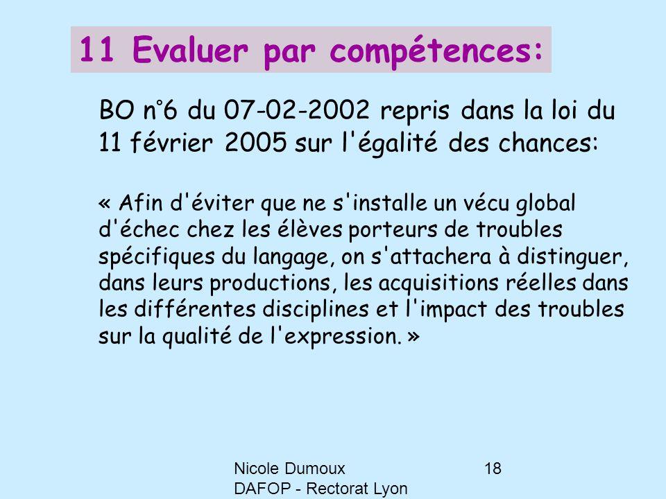 Nicole Dumoux DAFOP - Rectorat Lyon 18 11 Evaluer par compétences: BO n°6 du 07-02-2002 repris dans la loi du 11 février 2005 sur l'égalité des chance