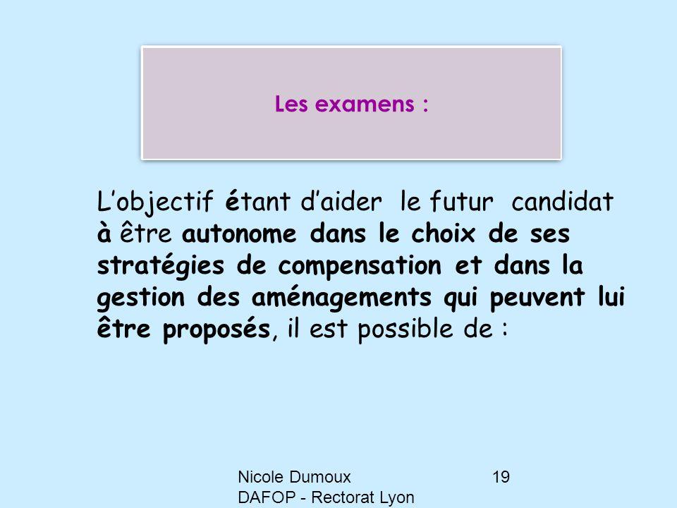 Nicole Dumoux DAFOP - Rectorat Lyon 19 L'objectif étant d'aider le futur candidat à être autonome dans le choix de ses stratégies de compensation et d