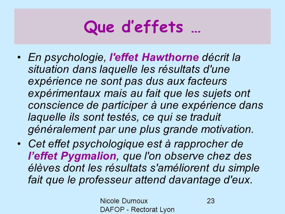 Nicole Dumoux DAFOP - Rectorat Lyon 23 Que d'effets … En psychologie, l'effet Hawthorne décrit la situation dans laquelle les résultats d'une expérien