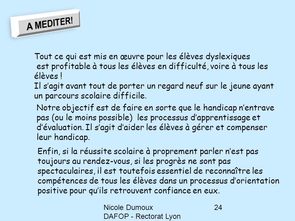 Nicole Dumoux DAFOP - Rectorat Lyon 24 Tout ce qui est mis en œuvre pour les élèves dyslexiques est profitable à tous les élèves en difficulté, voire