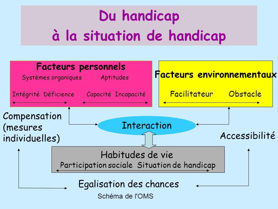 Schéma de l'OMS Du handicap à la situation de handicap Facteurs personnels Systèmes organiques Aptitudes Intégrité Déficience Capacité Incapacité Fact