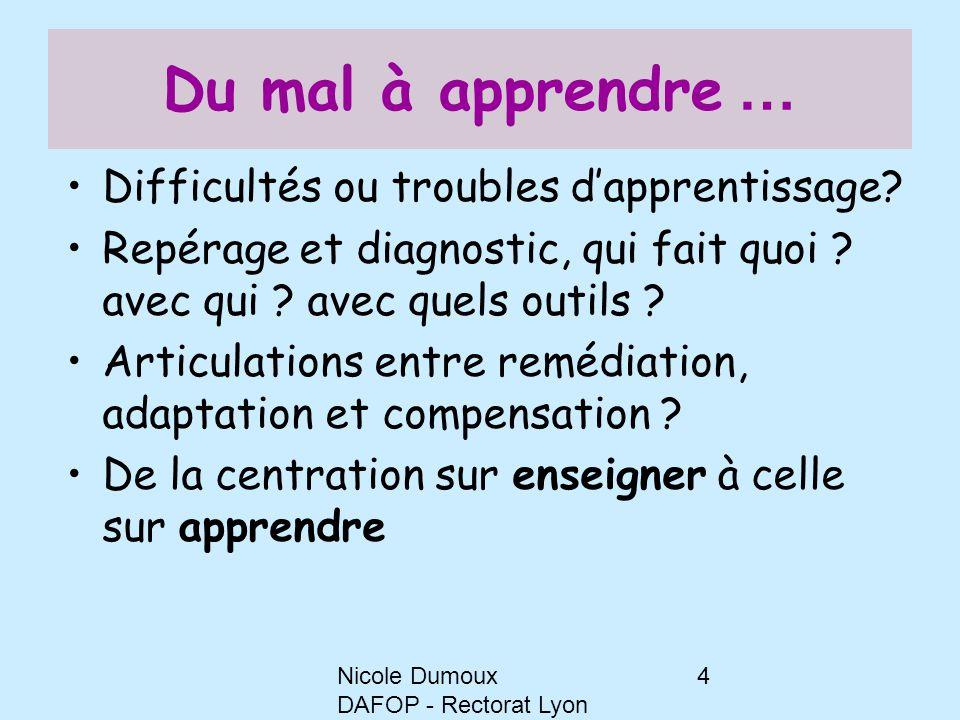 Nicole Dumoux DAFOP - Rectorat Lyon 4 Du mal à apprendre … Difficultés ou troubles d'apprentissage? Repérage et diagnostic, qui fait quoi ? avec qui ?