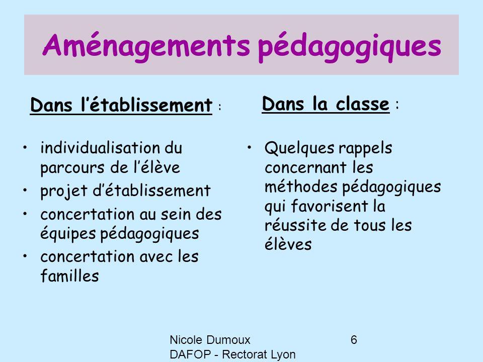 Nicole Dumoux DAFOP - Rectorat Lyon 6 Aménagements pédagogiques individualisation du parcours de l'élève projet d'établissement concertation au sein d