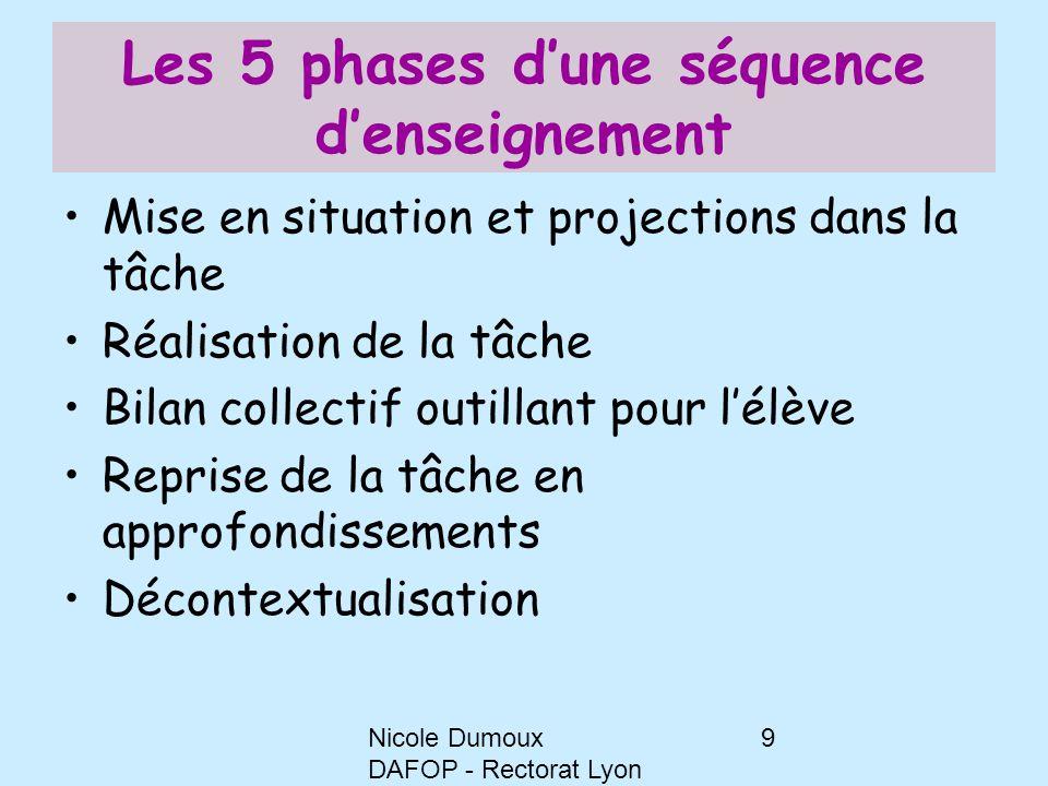 Nicole Dumoux DAFOP - Rectorat Lyon 9 Les 5 phases d'une séquence d'enseignement Mise en situation et projections dans la tâche Réalisation de la tâch