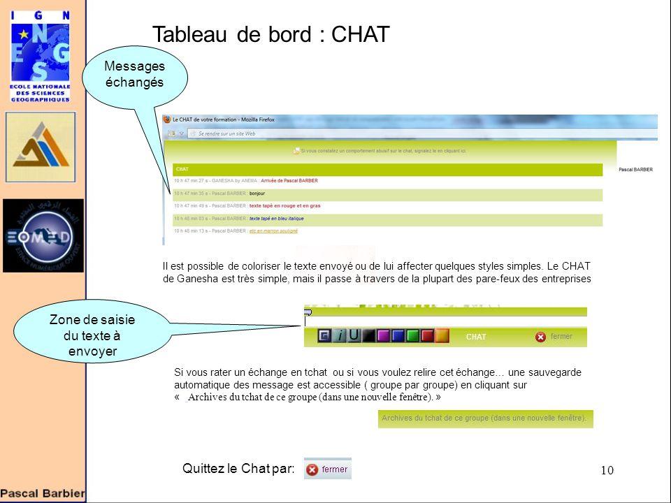 10 Tableau de bord : CHAT Zone de saisie du texte à envoyer Il est possible de coloriser le texte envoyé ou de lui affecter quelques styles simples.