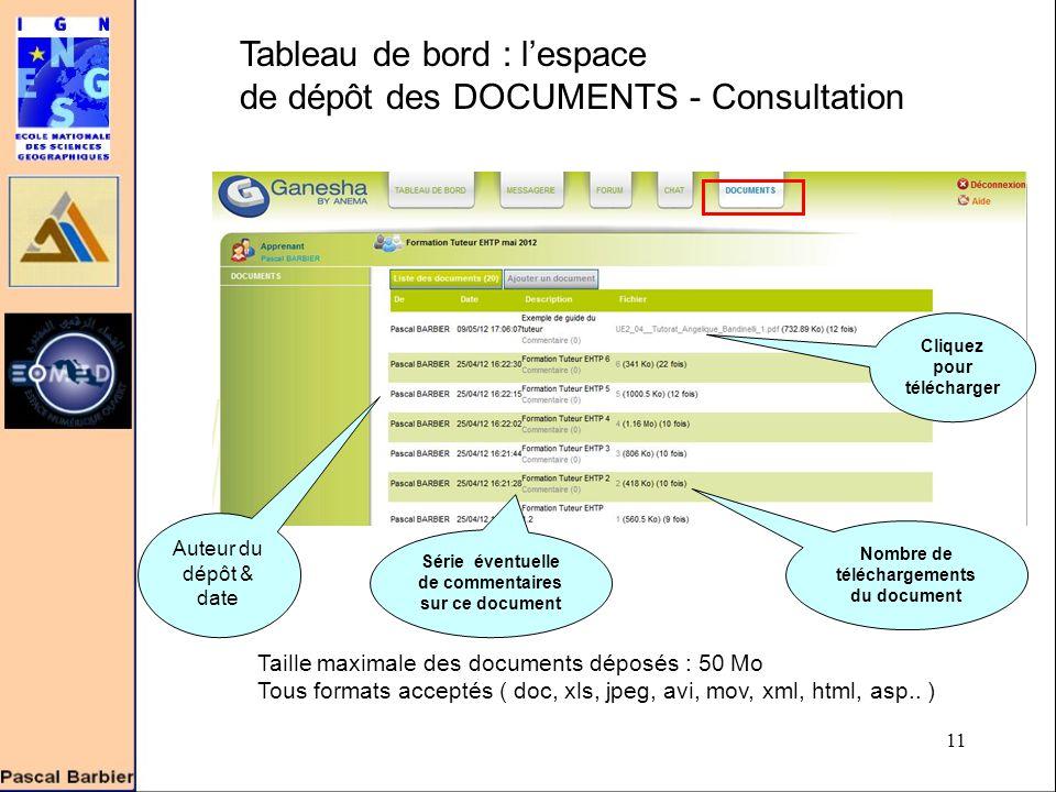 11 Tableau de bord : l'espace de dépôt des DOCUMENTS - Consultation Taille maximale des documents déposés : 50 Mo Tous formats acceptés ( doc, xls, jpeg, avi, mov, xml, html, asp..