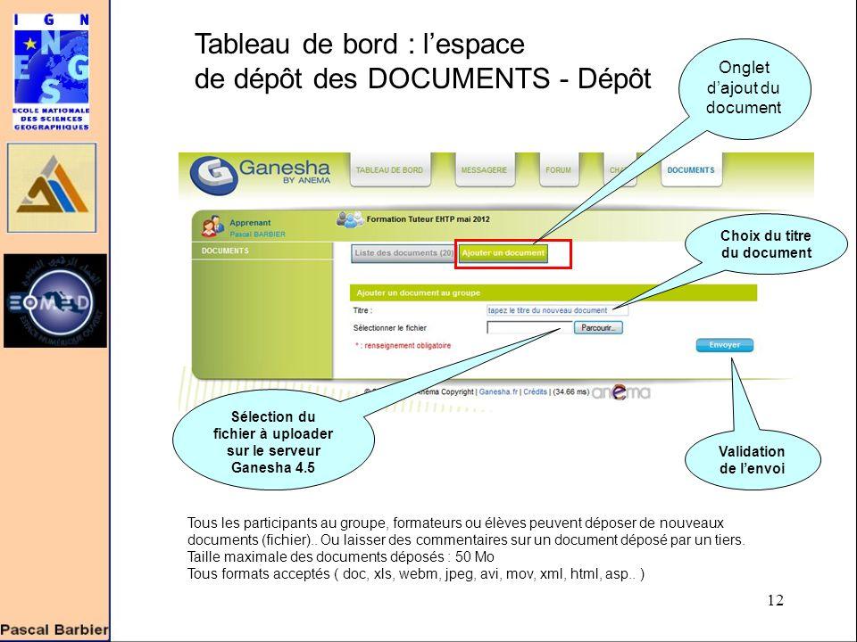 12 Tableau de bord : l'espace de dépôt des DOCUMENTS - Dépôt Tous les participants au groupe, formateurs ou élèves peuvent déposer de nouveaux documents (fichier)..