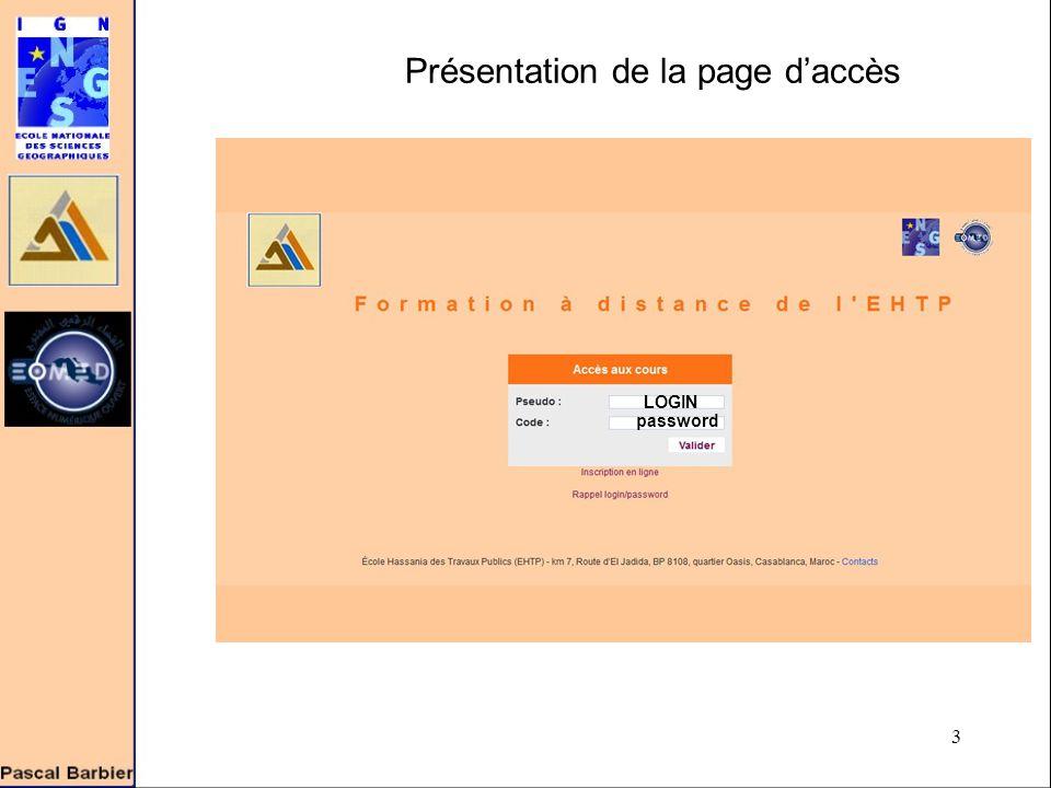 3 LOGIN password Présentation de la page d'accès