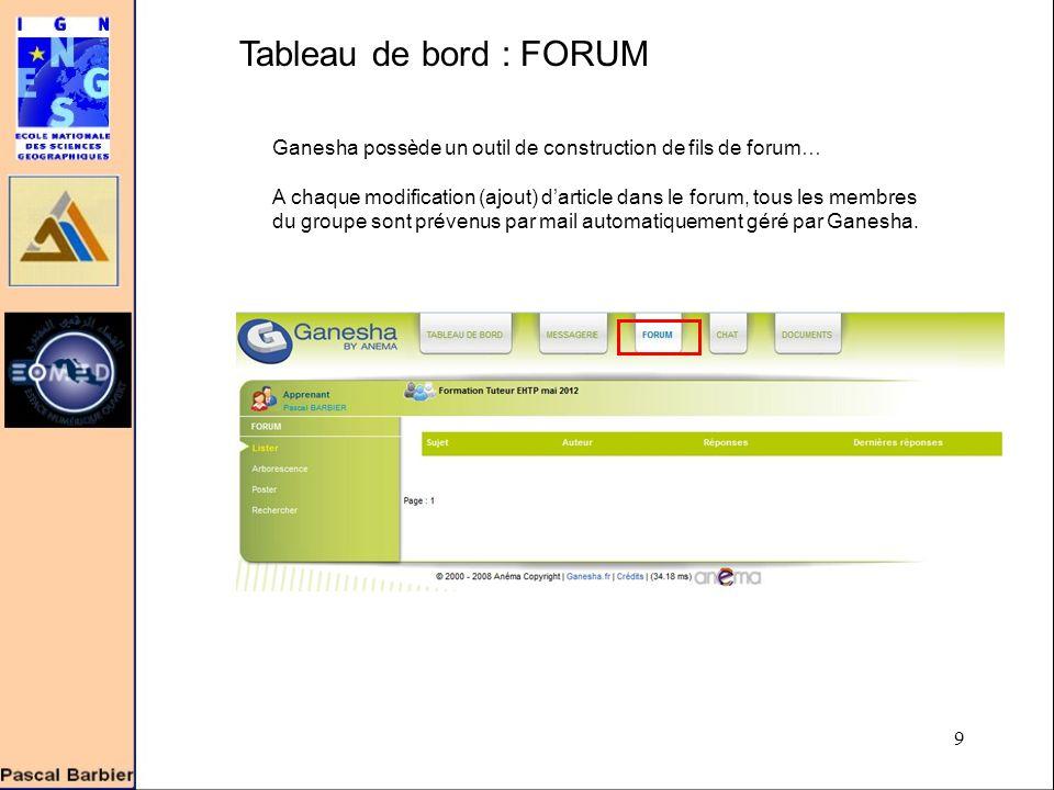 9 Tableau de bord : FORUM Ganesha possède un outil de construction de fils de forum… A chaque modification (ajout) d'article dans le forum, tous les membres du groupe sont prévenus par mail automatiquement géré par Ganesha.