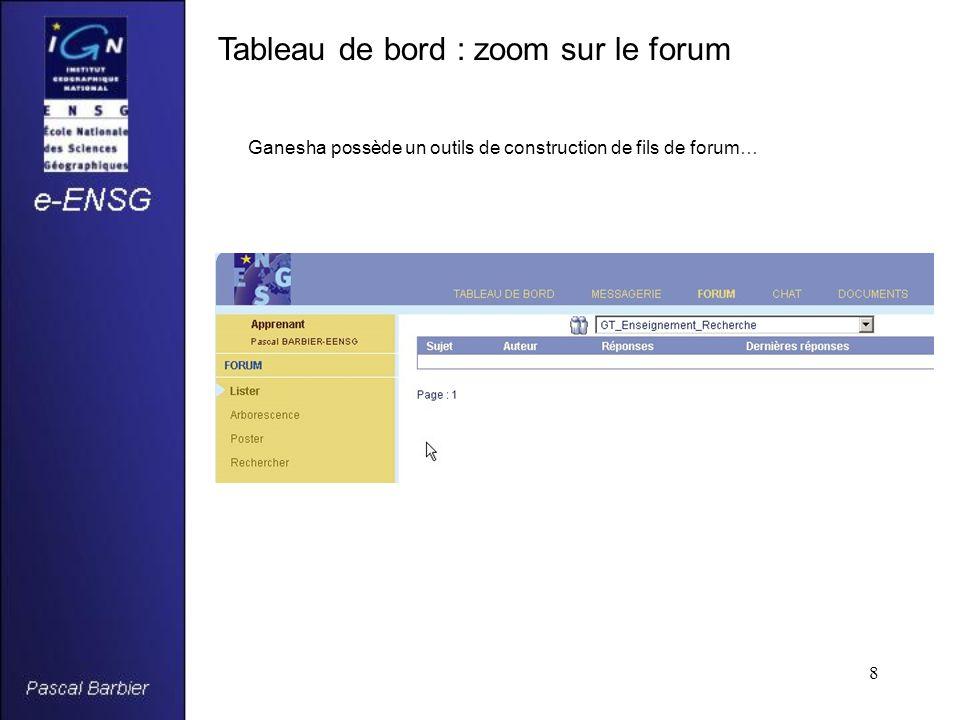 8 Tableau de bord : zoom sur le forum Ganesha possède un outils de construction de fils de forum…
