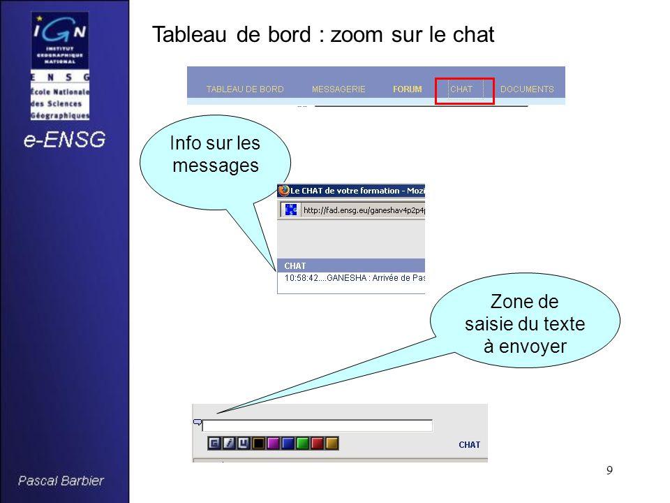 9 Tableau de bord : zoom sur le chat Info sur les messages Zone de saisie du texte à envoyer