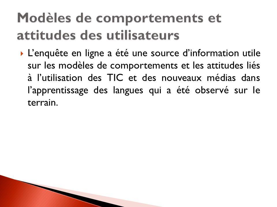 L'enquête en ligne a été une source d'information utile sur les modèles de comportements et les attitudes liés à l'utilisation des TIC et des nouveaux médias dans l'apprentissage des langues qui a été observé sur le terrain.