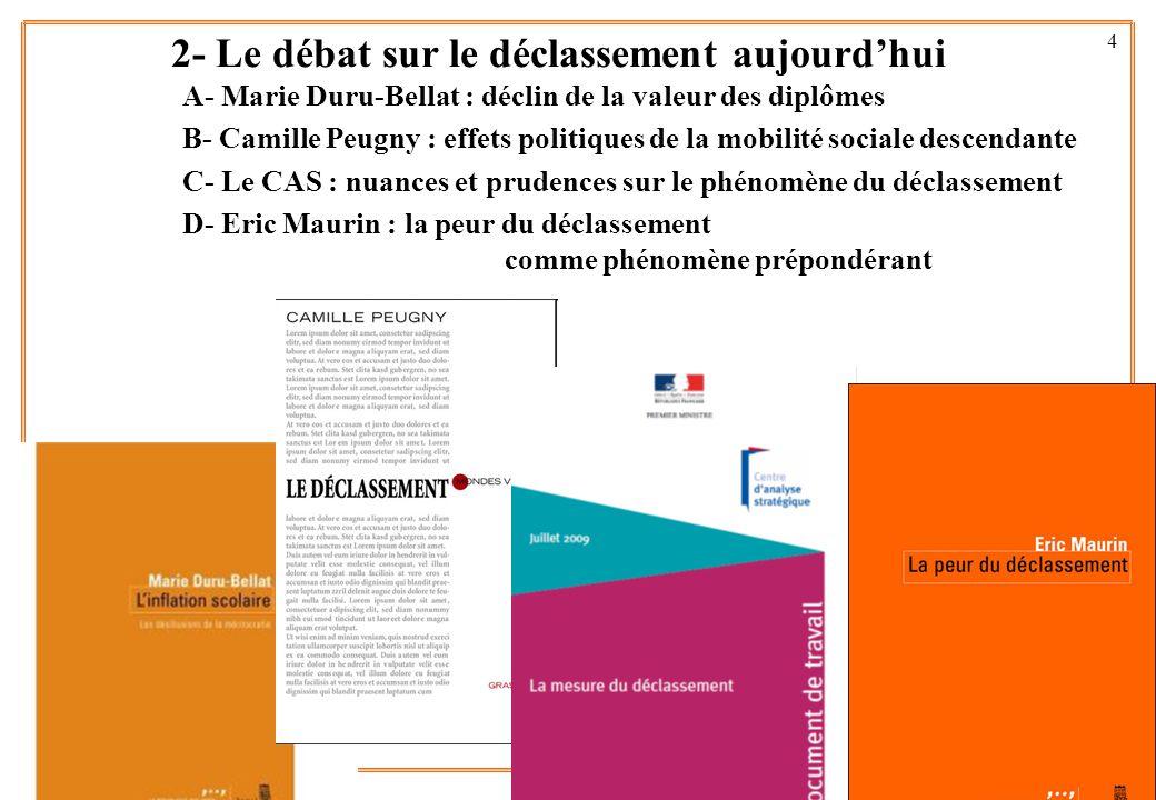 4 A- Marie Duru-Bellat : déclin de la valeur des diplômes B- Camille Peugny : effets politiques de la mobilité sociale descendante C- Le CAS : nuances