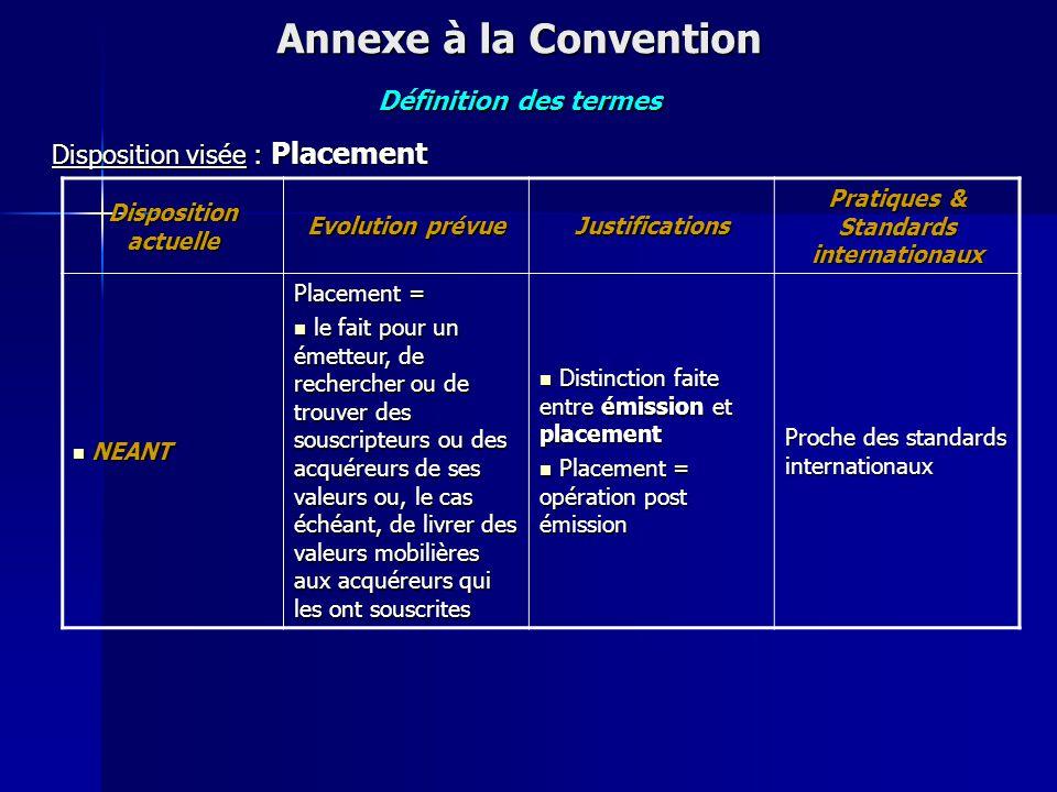 Disposition actuelle Evolution prévue Justifications Pratiques & Standards internationaux (Art. 19 de l'Annexe à la Convention) dont les valeurs ont é