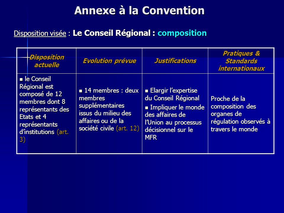 Disposition actuelle Evolution prévue Justifications Pratiques & Standards internationaux Les missions et les attributions du Conseil Régional sont co