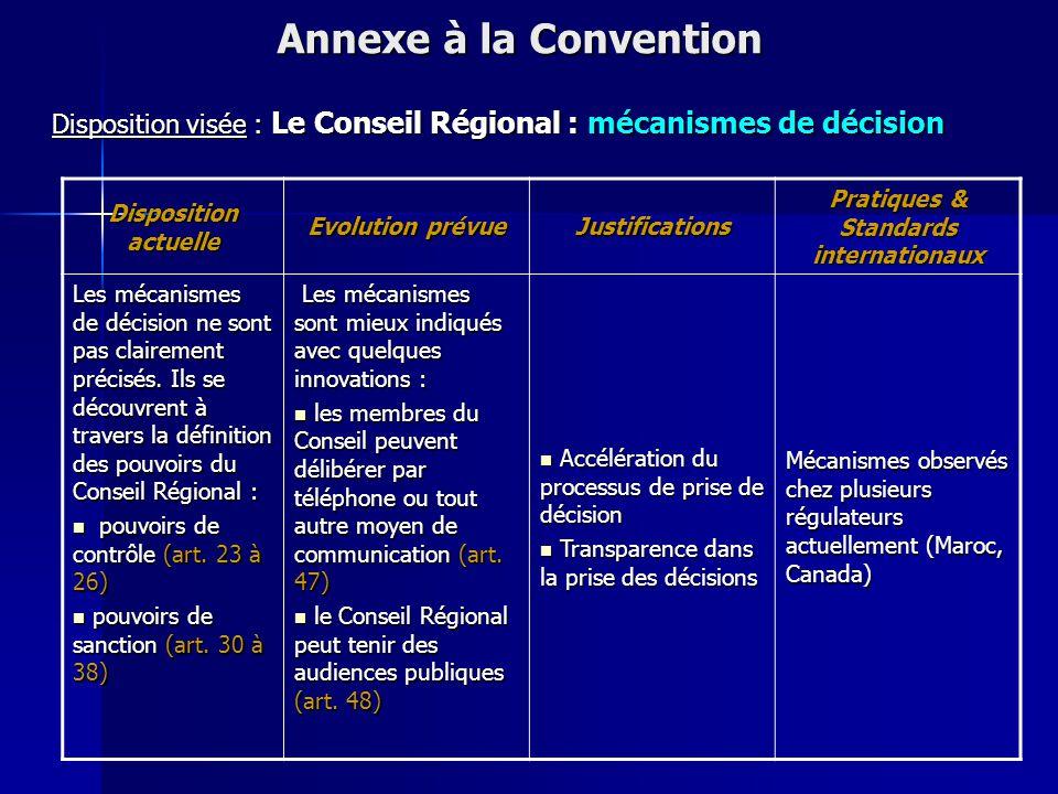 Disposition actuelle Evolution prévue Justifications Pratiques & Standards internationaux le Conseil Régional est composé de 12 membres dont 8 représe