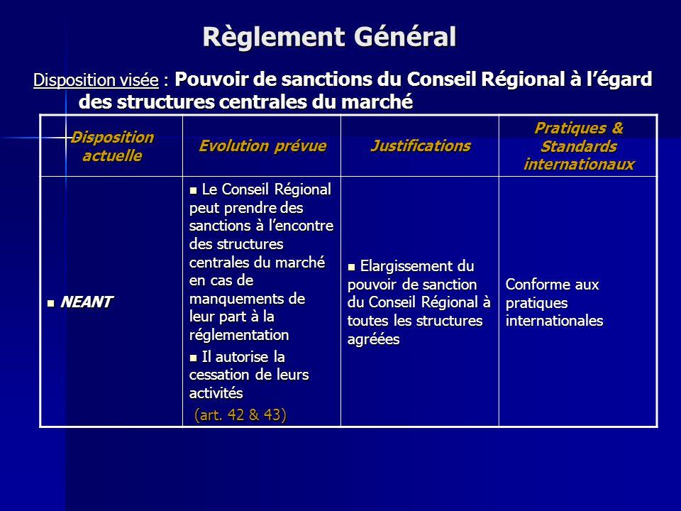 Disposition actuelle Evolution prévue Justifications Pratiques & Standards internationaux Le Conseil Régional approuve les modifications des statuts e