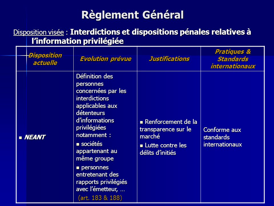 Disposition actuelle Evolution prévue Justifications Pratiques & Standards internationaux Les procédures d'offres publiques sont traitées globalement